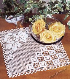 filet rose doily