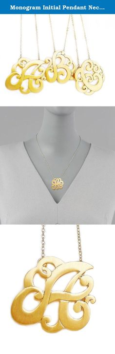 Monogram Initial Pendant Necklace Personalized Swirl Letter Charm Matte Gold Tone Perfect Gift (Letter A). Unique Monogram Swirl Initial Personalized Pendant Necklace: the hottest jewelry trend of the past year, seen on celebrities like Taylor Swift, Carrie Underwood, Reese Witherspoon, and Lauren Conrad. Beautiful Swirl Design completely Unique in your very own Initial Letter or the letter of you child, anything that is close to your heart. Wonderfully refined scripted ornately rendered...