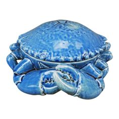Big Blue Crab Shaped Dish Covered Serving Bowl 11.75 Inches Ceramic