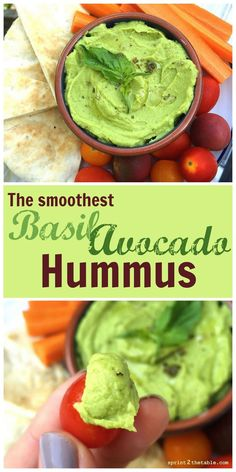 "Avocado Hummus Basil Avocado Hummus [Recipe] - the ""secret"" to making store bought-smooth hummus at home!Basil Avocado Hummus [Recipe] - the ""secret"" to making store bought-smooth hummus at home! Avocado Hummus, Avocado Toast, Guacamole, Basil Hummus, Avocado Pesto, Vegan Pesto, Avocado Salad, Avocado Egg, Vegetarian Recipes"