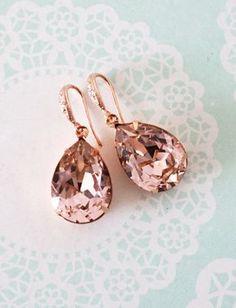 Vintage Rose Pink Swarovski Crystal Teardrop (13mm x 18 mm) in roes gold plated closed back stone settings. Cubic zirconia Teardrop earrings, rose gold plated.  Nickel Free.