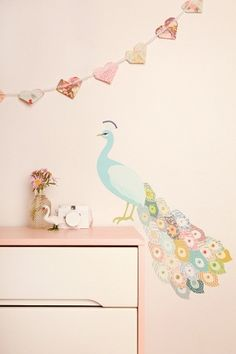 peacock, perfect for a little girls room :)