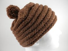 Brown Knit Hat  Women's or Men's Cold Weather Cap by SwedetteKnits