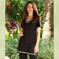 Fashionizer Spa Uniforms - SP-TU-4A-BL ZETA Spa Tunic Black
