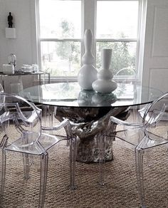 Interiors Is Styled With Our Sequoia Dining Table Layered In Authentic Silver Leaf For A Luminescent Look