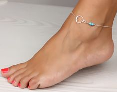 Infinity anklet, turquoise anklet, $21.00, via Etsy.
