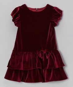 Take a look at this Burgundy Tiered Velvet Dress - Infant & Toddler by Alouette on #zulily today!