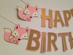 Fox Party Banner ~ Pink and Gold Birthday Party Banner ~ Girls First Birthday Party, Girls Party Ideas, Girls Baby Shower, Pink Party,