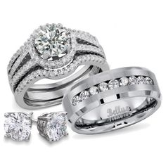 His and Hers Wedding Rings Titanium Sterling Silver Bridal Matching Ring Set + FREE STERLING SILVER EARRINGS #weddingrings