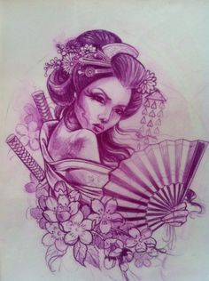 Geisha with Samurai Swords and Fan Tattoo Bild Tattoos, Love Tattoos, Beautiful Tattoos, Tatoos, Geisha Drawing, Geisha Art, Fan Tattoo, Tattoo Pain, Geisha Tattoos Sleeve