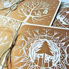 Papiernictvo - Vianočné pohľadnice - Zlatý set 5 ks - 7299744_