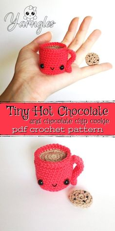 This adorable amigurumi crochet pattern for a mug of hot chocolate and a super t. : This adorable amigurumi crochet pattern for a mug of hot chocolate and a super tiny crocheted cookie is soooooo cute! Would make a fun quick to make Christmas gift! Crochet Food, Crochet Patterns Amigurumi, Crochet Gifts, Cute Crochet, Crochet Dolls, Crocheted Toys, Quick Crochet, Crotchet, Kawaii Crochet