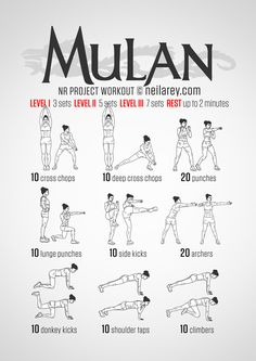 Mulan fitness workout.  By Neila Rey at neilarey.com