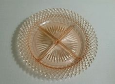 BEAUTIFUL Vintage1930's Pink Depression Glass round divided dish/plate in Pottery & Glass, Glass, Glassware | eBay
