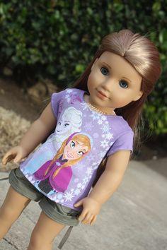 """Purple """"Frozen"""" Tee for American Girl Dolls on Etsy, $22.00 ~ So Cute!"""