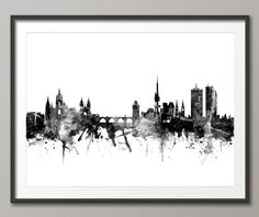 Prague Skyline, Prague (Praha) Czech Republic Cityscape Art Print (2378) by artPause on Etsy