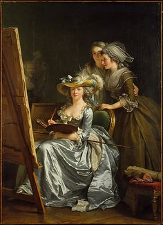 Adélaïde Labille-Guiard (French, 1749–1803). Self-Portrait with Two Pupils, Marie Gabrielle Capet (1761–1818) and Marie Marguerite Carreaux de Rosemond (died 1788), 1785. The Metropolitan Museum of Art, New York. Gift of Julia A. Berwind, 1953 (53.225.5) | In 1783, when admitted to the French Académie Royale, the number of women artists eligible for membership was limited to four. #paris
