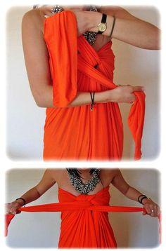 DIY tied dress using a picece of viscose fabric 2m x 1.5m