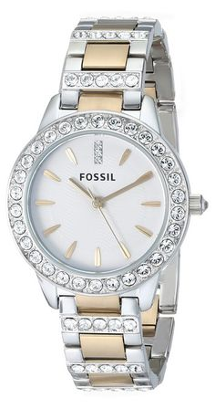 Fossil Women's ES2409 Jesse Stainless Steel Three Hand Watch - Silver and Gold Two-Tone -- $115