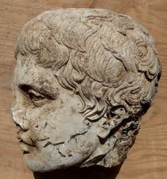 """Head of Doryphoros (Spear-bearer). Roman marble copy (2nd cent. AD) of 5th-cent. bronze original by Polykleitos recently recovered at the """"Palestra"""" of Hadrian's Villa in Tivoli, Lazio, Italy."""
