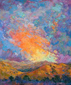 Sherbet Dawn, original impressionist oil painting by landscape artist Erin…