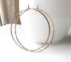 Rose Gold Filled Hammered Hoop Earrings