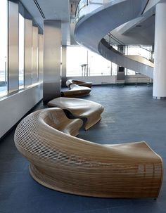 Wooden seating with sexy curves