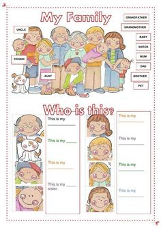 My family Language: English Level/group: Grade Pre-school. Elementary School subject: English as a Second Language (ESL) Main content: The family Other contents: family members English Worksheets For Kids, English Lessons For Kids, Kids English, English Activities, Learn English, Preschool Activities, Preschool Family, Grammar Worksheets, Alphabet Worksheets