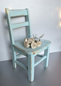 Vintage Child's Chair, Blue Chair, Old Chair, Rustic, Farmhouse, Shabby and Chic, Cottage Decor, Small Chair, Oak, Wood. $58.00, via Etsy.