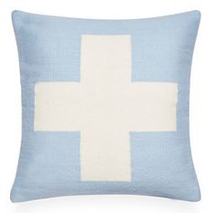 Jonathan Adler Reversible Light Blue Cross Pop Throw Pillow