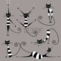 Illustration of Black cat silhouette for your design vector art, clipart and stock vectors. Illustration Art, Illustrations, Cat Design, Design Set, Cat Drawing, Crazy Cats, Cool Cats, Cat Art, Cats And Kittens