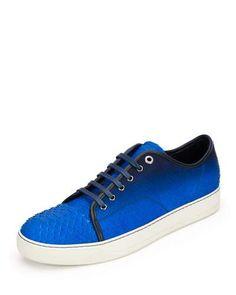 LANVIN MEN'S GRADIENT PYTHON LOW-TOP SNEAKER, BLUE. #lanvin #shoes #