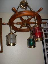 Vintage Nautical Maritime Ship Wheel Hanging Lantern Ceiling Light Fixture Lamp