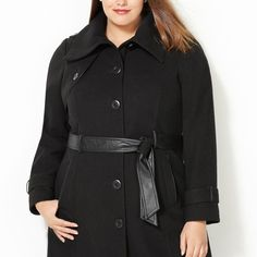 Belted Faux Leather Trim Coat-Plus Size Coat-Avenue- I need a coat for winter so this would be a great.  I can see wearing this to different occasions, not just work.