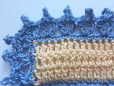 crochet borders V-stitch and picots edging free crochet pattern - This free crochet edging pattern is a unique one using v-stitch and picots to create a wide border around blankets and other projects. Crochet Afghans, Picot Crochet, Crochet Blanket Border, Crochet Lace Edging, Easy Crochet, Crochet Stitches, Crochet Baby, Free Crochet, Baby Afghans