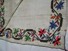 Typical example of Turkish 'two-sided' embroidery (front and rear are identical).   Polychrome silk on linen.  From northwest-Anatolia.  Mid-20th century.
