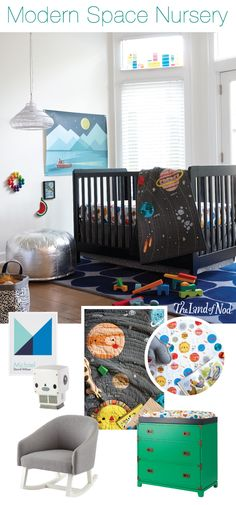 Create an outerspace themed nursery that still feels chic and modern. Plenty of white, bold patterns and bits of metallic, mixes with clever space crib bedding for the perfect balance of playfulness and style. Take a closer look at the pieces that combine to make this chic, yet fun space.