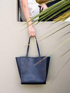 Eclipse Blue Pozo  Blue Leather Tote Bag