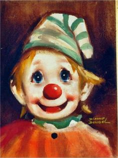 Vintage Dianne Dengel Original Young Clown by plankandpearl Image Halloween, Halloween Circus, Clown Faces, Creepy Clown, Clown Paintings, Image Nature Fleurs, Drawing Sketches, Drawings, Send In The Clowns