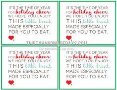 printable holiday treat card {via @30daysblog}