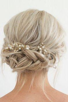 boho wedding hairstyles bohemian braided updo with accessories ihms #weddinghairstyles