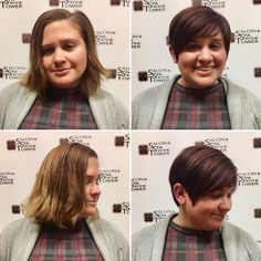 Bold Before & After on Sara! Emily shaped up this adorable pixie cut and gave her a rich new color. Perfect! #hairperfection #beautiful #beforeandafter #transform #hairsalon