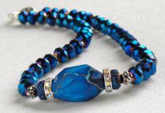 Royal Blue Variscite Handmade Beaded Necklace Midnight Blue Crystals by bdzzledbeadedjewelry on Etsy https://www.etsy.com/listing/164121466/royal-blue-variscite-handmade-beaded