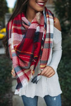 Plaid Blanket Scarf- Red/Beige/White - Dottie Couture Boutique