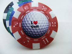 "Golfing Gifts for him or her,  Game of Poker/Fish Extender Gifts. Includes one golf ball marker ""I Love Golf"" - pinned by pin4etsy.com"