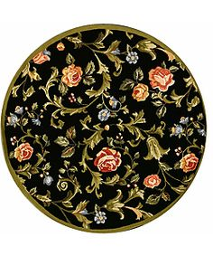 Hand-hooked Garden of Eden Black Wool Rug (5'6 Round)   Overstock.com Shopping - Great Deals on Safavieh Round/Oval/Square