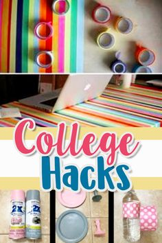 College Hacks for Your Dorm Room! DIY dorm room ideas, dorm rooms decorating, college dorm organization and cute ideas for college dorm rooms. LOVE these ideas for dorm rooms AND they're cute DIY bedroom ideas too. Save money on college dorm essentials with these easy DIY projects (great freshman tips and college survival hacks for college organization)