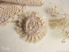 """Купить Брошь бохо цветок """"Cotton"""" с жемчугом бежевый - брошь, брошь ручной работы"""