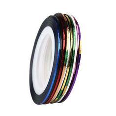 10ロールミックス色自己粘着ネイルアートストリッピングテープラインネイルデコレーションステッカーデカール用uvジェルポリッシュ