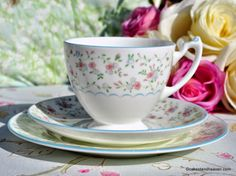 Coalport Mignon Ditsy Pink and Blue Flowers and Pale Blue Rims Teacup Trio c.1970s